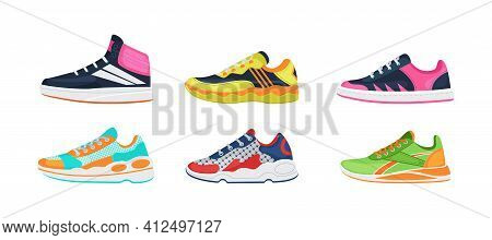 Fitness Sneakers Shoes Set. Comfortable Shoes For Training, Running And Walking. Sports Shoes Of Var