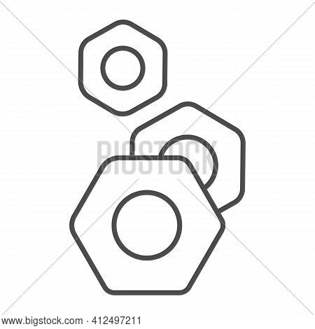 Nuts For Screws Thin Line Icon, Car Parts Concept, Screw-nut Sign On White Background, Nut Icon In O
