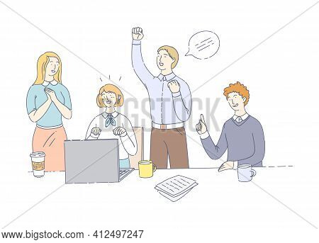 Business Office Workers Team Cooperation. Team Meetings Together, Teamwork Group Of People Over Solu