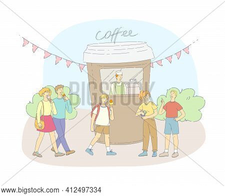 Street Food Festival Event. Group People Eating Ice Cream And Buying Coffee At Kiosk. Man And Woman