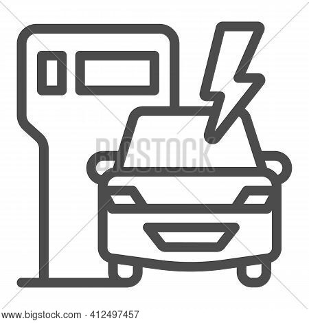 Ev Charging Station And Vehicle Line Icon, Electric Car Concept, Electric Vehicle Charging Station S