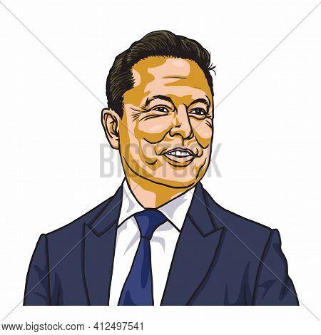 Elon Musk, Famous Founder, Ceo And Entrepreneur Vector Cartoon Portrait Illustraton. Los Angeles, Ma