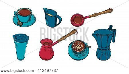 Coffee Set Wuth Cups, Pots And Creamer. Big Colored Set Of Coffee Accessoiries For Cappuccino Or Ame