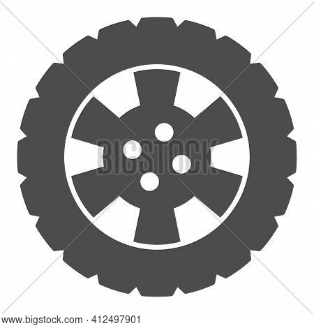 Winter Tire And Car Wheel Disc Solid Icon, Car Parts Concept, Automobile Tire Sign On White Backgrou