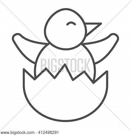 Chick In Eggshell Thin Line Icon, Happy Easter Concept, Chick Peeking Out Of Egg Shell Sign On White