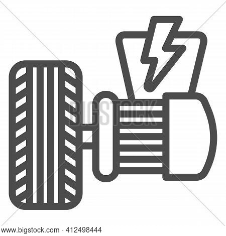 Electric Vehicle Motor And Tire Line Icon, Electric Car Concept, Electrical Engine Sign On White Bac