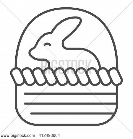 Basket With Easter Bunny Thin Line Icon, Happy Easter Concept, Bunny Sitting In Basket Sign On White