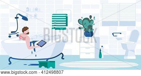 Young Man Taking Bubble Bath Using Laptop