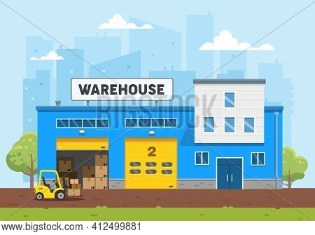 The Warehouse Building Is Blue. The Loader Carries The Goods To The Warehouse. Logistics And Deliver