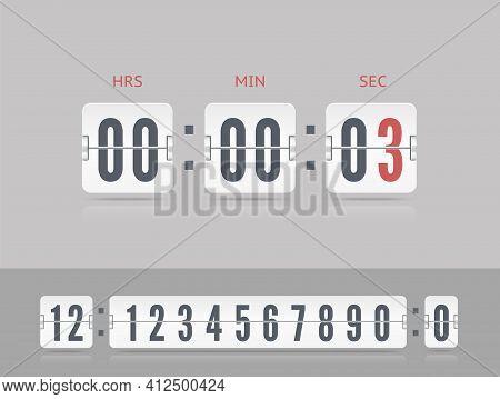 Last Chance Concept. Retro Score Board Clock. Vintage Flip Clock Time Counter Vector. White Scoreboa