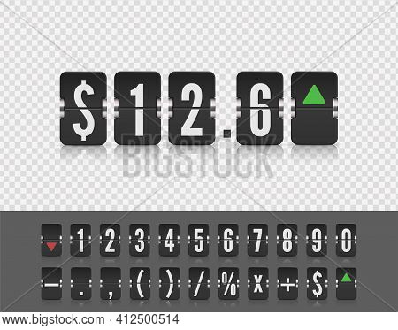 Stock Exchange Vector Mechanic Board. Analog Flip Airport Board For Countdown Timer. Flip Number And