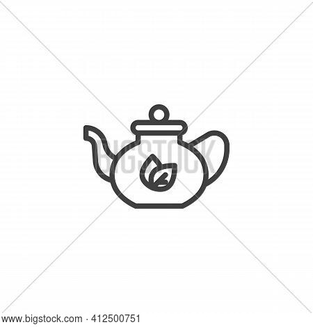 Teapot Tea Line Icon. Linear Style Sign For Mobile Concept And Web Design. Herbal Tea Pot Outline Ve