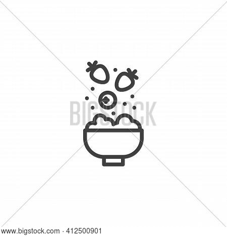 Fruit Cereal Breakfast Line Icon. Linear Style Sign For Mobile Concept And Web Design. Porridge Bowl