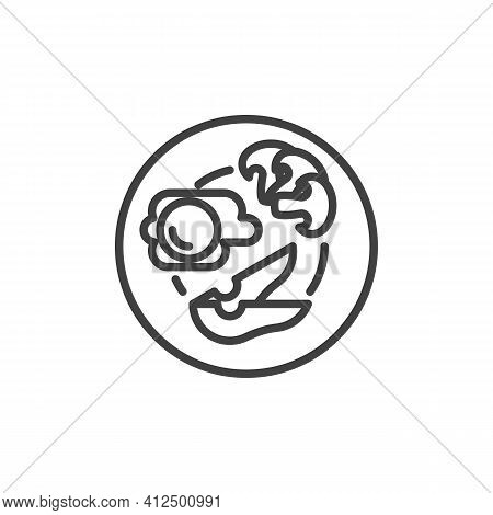 Healthy Breakfast Plate Line Icon. Linear Style Sign For Mobile Concept And Web Design. Breakfast Wi