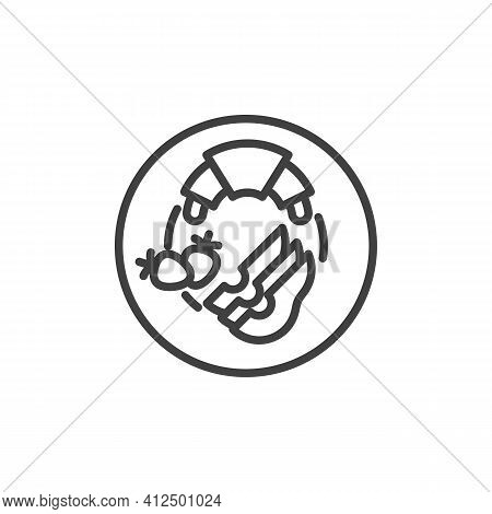 Vegetarian Breakfast Plate Line Icon. Linear Style Sign For Mobile Concept And Web Design. Healthy B
