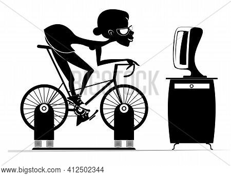 Cyclist Woman Trains At Home On The Exercise Bike Illustration.  Cyclist Young Woman Rides On Exerci