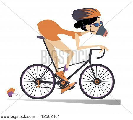 Cartoon Woman In The Protective Mask Rides A Bike Illustration.  Sport Woman In The Protective Mask