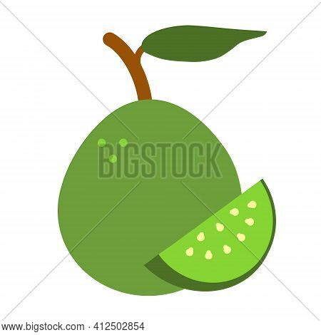 Guava Ripe Juicy Exotic Fruit Vector Icon. Summer Tropical Fruit In Flat Style Isolated On White Bac