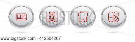 Set Line Dental Card, First Aid Kit, Tooth And Painkiller Tablet. Silver Circle Button. Vector