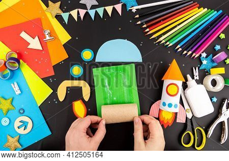 Step-by-step Instruction Crafts With Children From Rolls Of Toilet Paper On The Theme Of Space And R