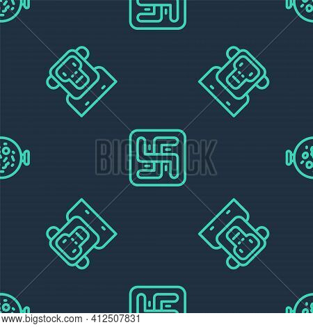 Set Line Hindu Swastika, Monkey And Chicken Tikka Masala On Seamless Pattern. Vector