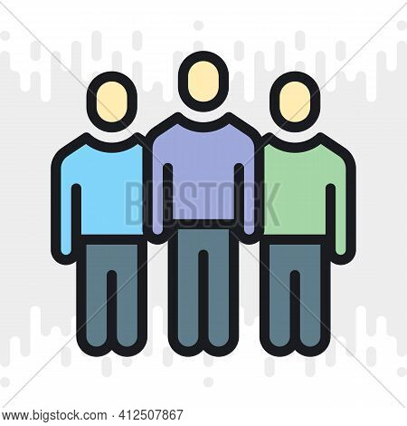 Team, Crowd Or Group Of Persons Icon. Teamwork And Corporate Culture Concept. Simple Color Version O