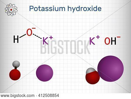 Potassium Hydroxide, Caustic Potash, Lye Molecule. Koh Is Strong Caustic Base And Alkali, Ionic Comp