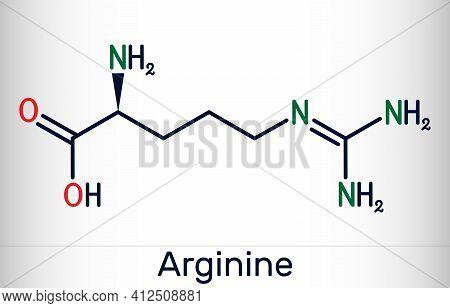 Arginine, Arg, L-arginine, R Essential Amino Acid Molecule, It Is Used In The Biosynthesis Of Protei