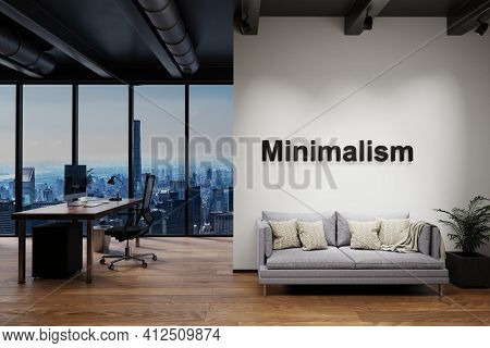 Workplace And Cozy Couch Side By Side In Modern Office Building With Skyline View; Minimalism Concep