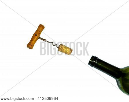 Corkscrew For Opening Corks Of Wine Bottles On A White Background.