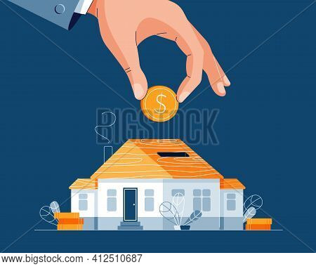 Save Money For A House Buying Vector Illustration. Businessmans Hand Puts The Money Into House Piggy