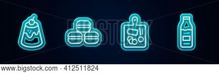 Set Line Pudding Custard, Macaron Cookie, Cutting Board And Bottle With Milk. Glowing Neon Icon. Vec