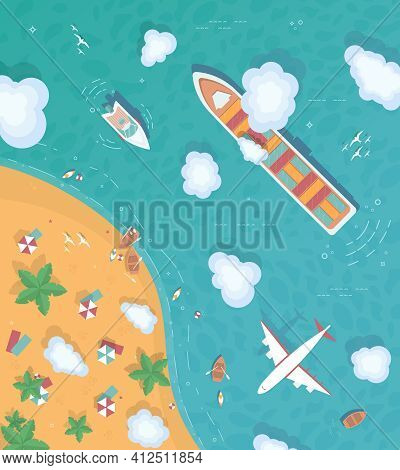 Illustration Of An Island In The Middle Of The Ocean. Flat Style. Top View. Container Ship, Cargo Sh