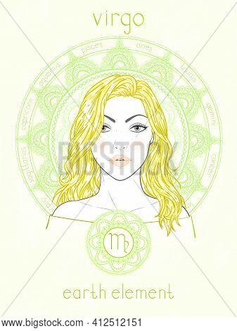 Vector Illustration Of Virgo Zodiac Sign, Portrait Beautiful Girl And Horoscope Circle. Earth Elemen