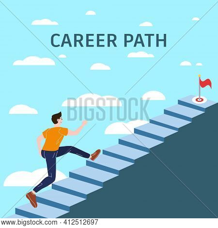 Career Path Young Man Running Up Stairway To Target. Cuccessful Choice Employeeman Move Up Path Succ