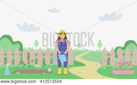 Flat Illustration Of A Green Garden Landscape With A Woman Watering The Garden Beds. Summer And Spri