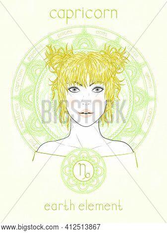 Vector Illustration Of Capricorn Zodiac Sign, Portrait Beautiful Girl And Horoscope Circle. Earth El