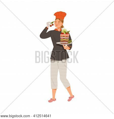 Young Woman As Chef Master Decorating Cake With Cherry Vector Illustration