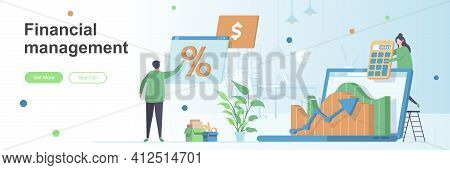 Financial Management Landing Page With People Characters. Financial Analysis And Calculating Banner.