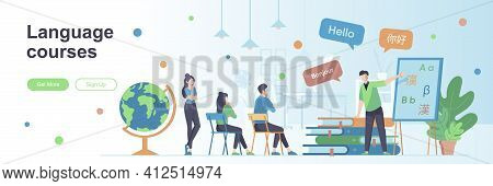 Language Courses Landing Page With People Characters. Teaching Service Web Banner. E-learning Platfo