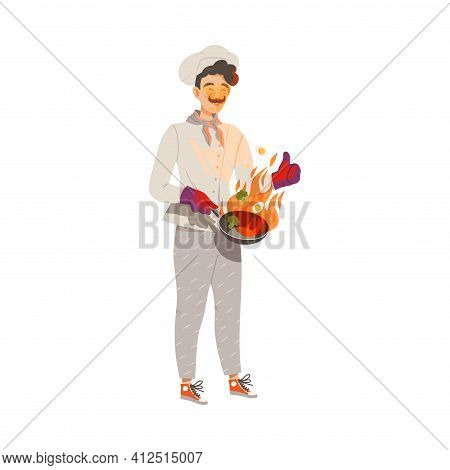 Moustached Man As Super Chef In Toque And Jacket Flambering On Frying Pan Vector Illustration