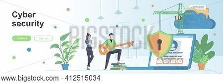 Cyber Security Landing Page With People Characters. Cybersecurity Assistance Provider Web Banner. Pa