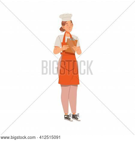 Woman As Super Chef In Toque And Apron Standing With Lipboard Vector Illustration