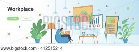 Workplace Landing Page With People Characters. Comfortable Workspace, Home Office Web Banner. Remote