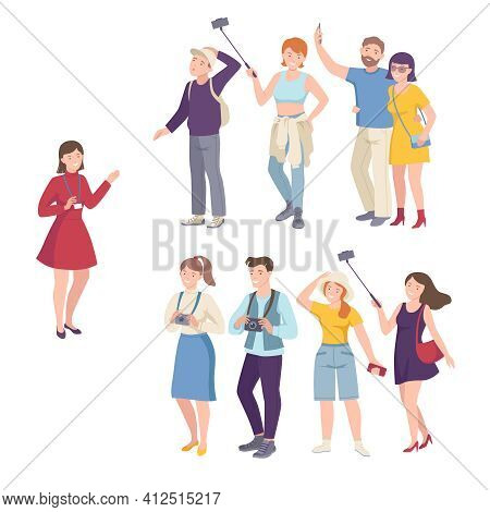 People Tourist Characters On Excursion Or Sightseeing Tour With Guide Vector Illustration Set