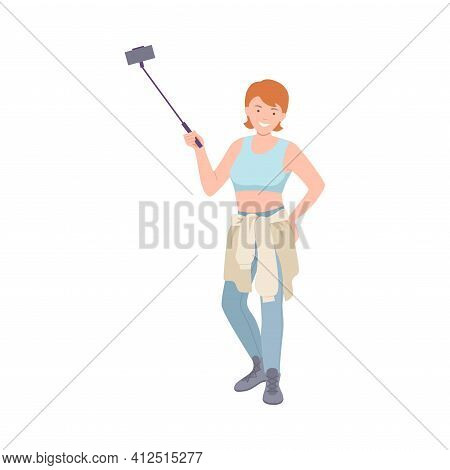 Woman Tourist Character On Excursion Or Sightseeing Tour Holding Selfie Stick Vector Illustration