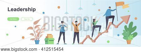 Leadership Landing Page With People Characters. Team Building And Cooperation Banner. Partnership An