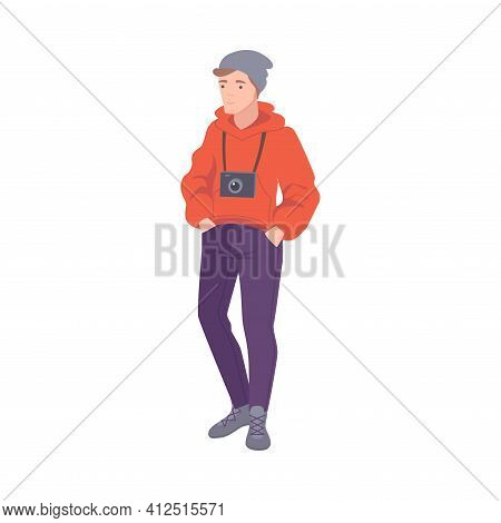 Man Tourist Character With Camera Hanging On Strap Visiting Excursion Or Sightseeing Tour Vector Ill