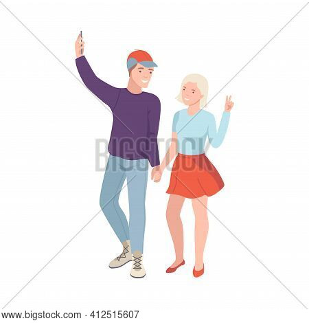 Tourist Couple On Excursion Or Sightseeing Tour Holding Smartphone Taking Selfie Vector Illustration