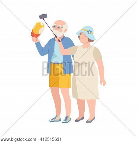 Senior Tourist Couple On Excursion Or Sightseeing Tour Holding Selfie Stick Vector Illustration